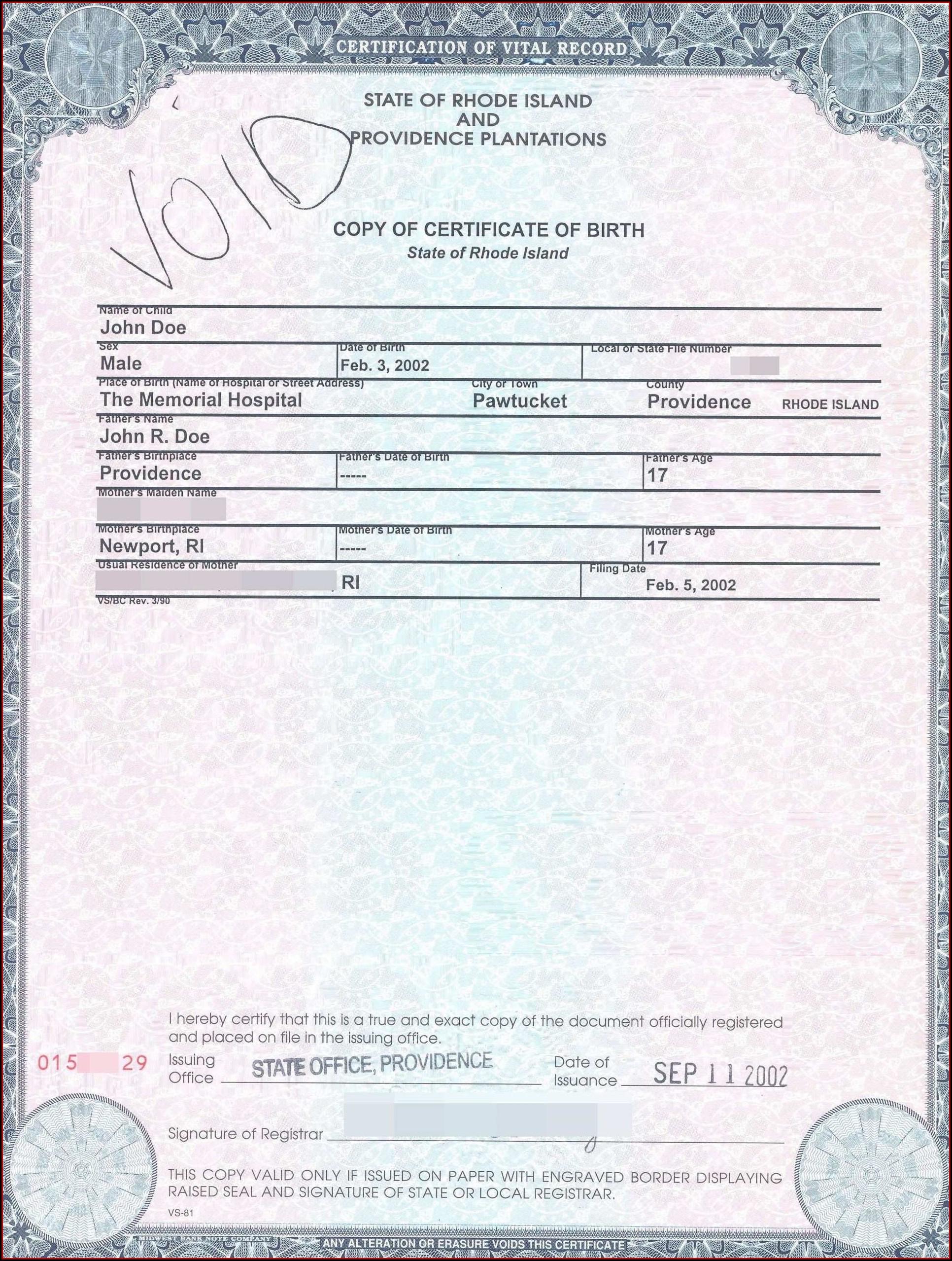 California Birth Certificate Example