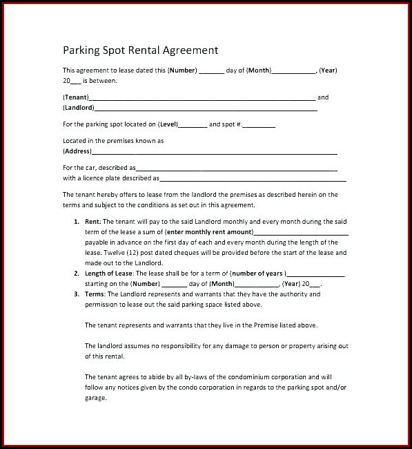 Car Parking Lease Agreement Template