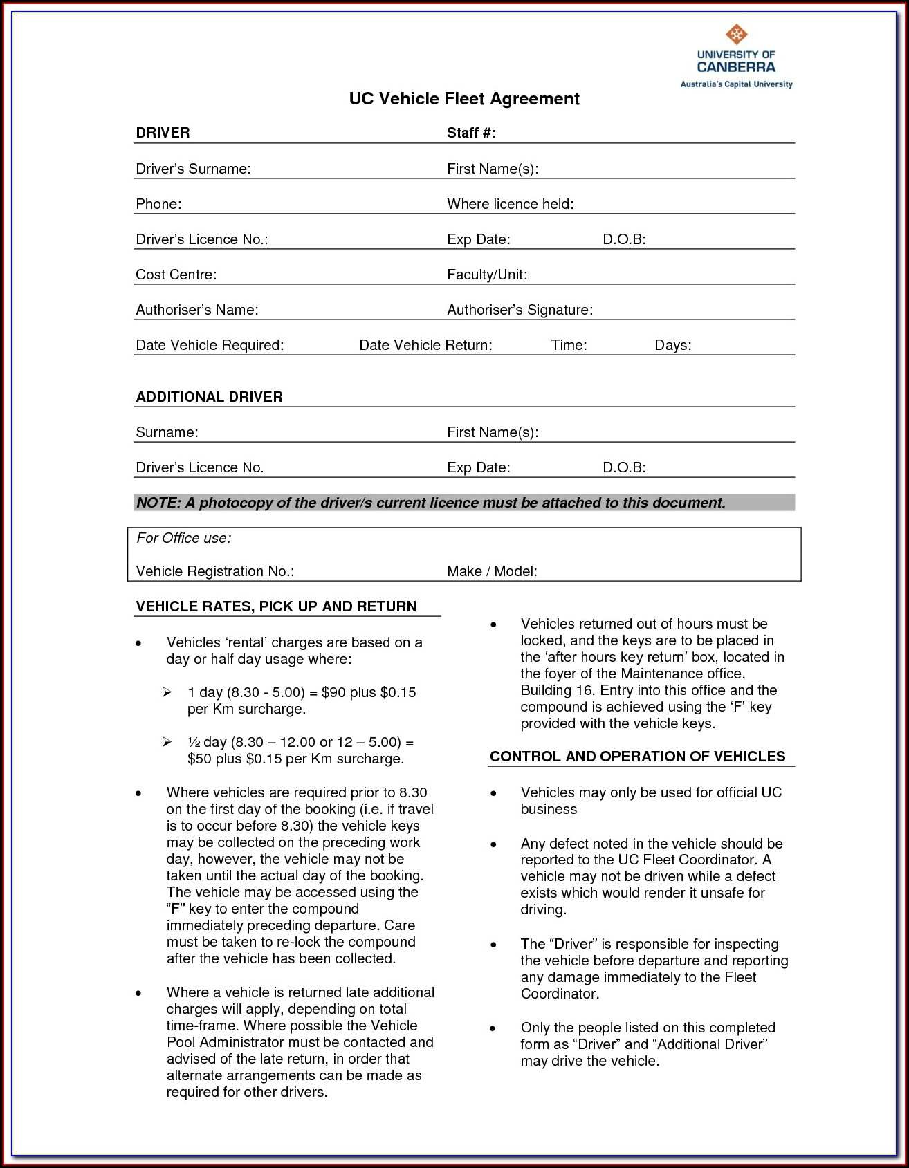 Car Rental Booking Form Template