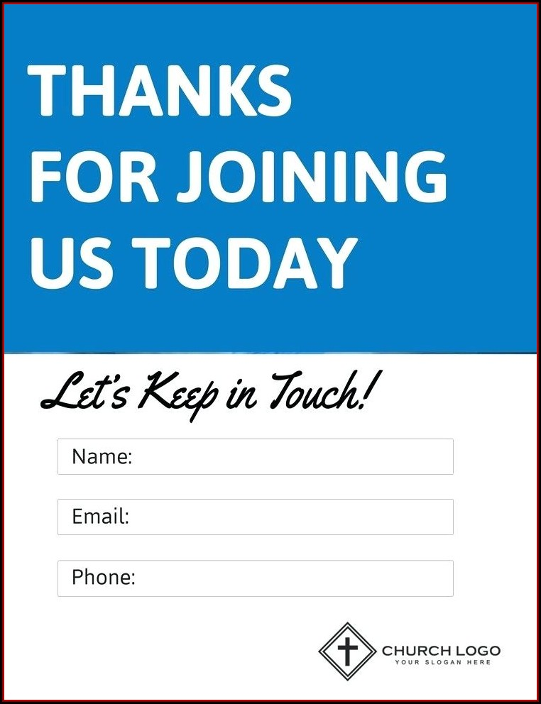 Church Visitor Information Card Template
