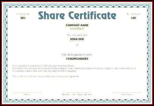 Companies House Share Certificate Template