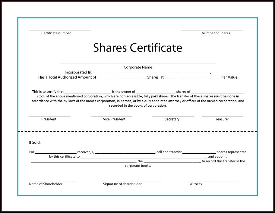 Company Share Certificate Template Free Download
