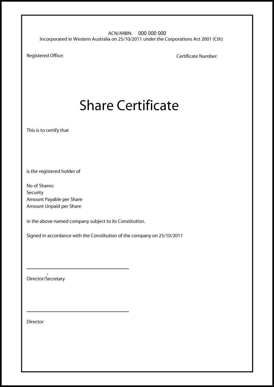 Company Share Certificate Template