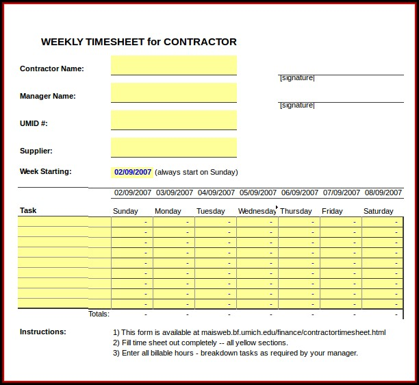 Contractor Timesheet Template Excel