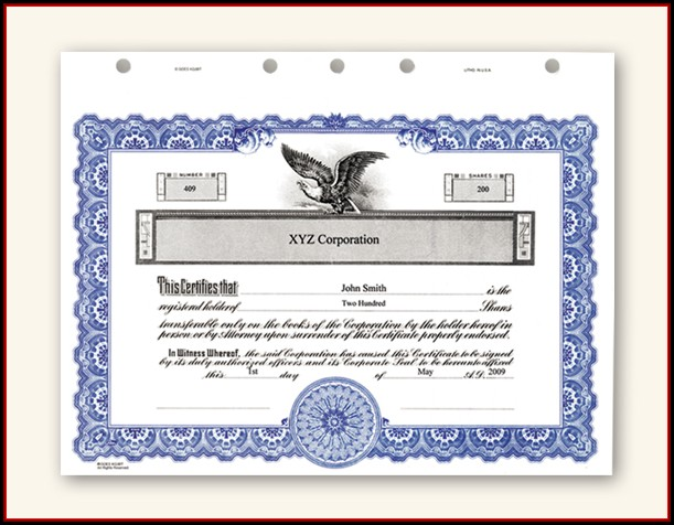 Corporate Stock Certificate Template Word
