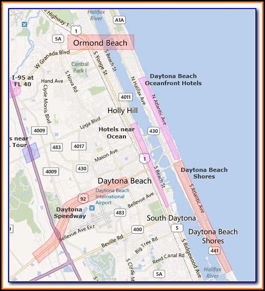 Daytona Beach Oceanfront Hotels Map