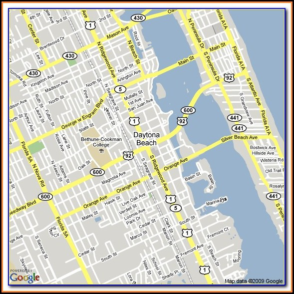 Daytona Beach Shores Hotel Map