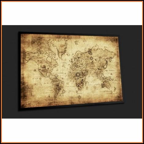 Framed Vintage World Map