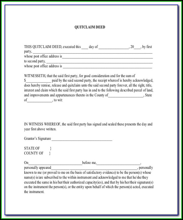 Ridiculous image within free printable quit claim deed ohio