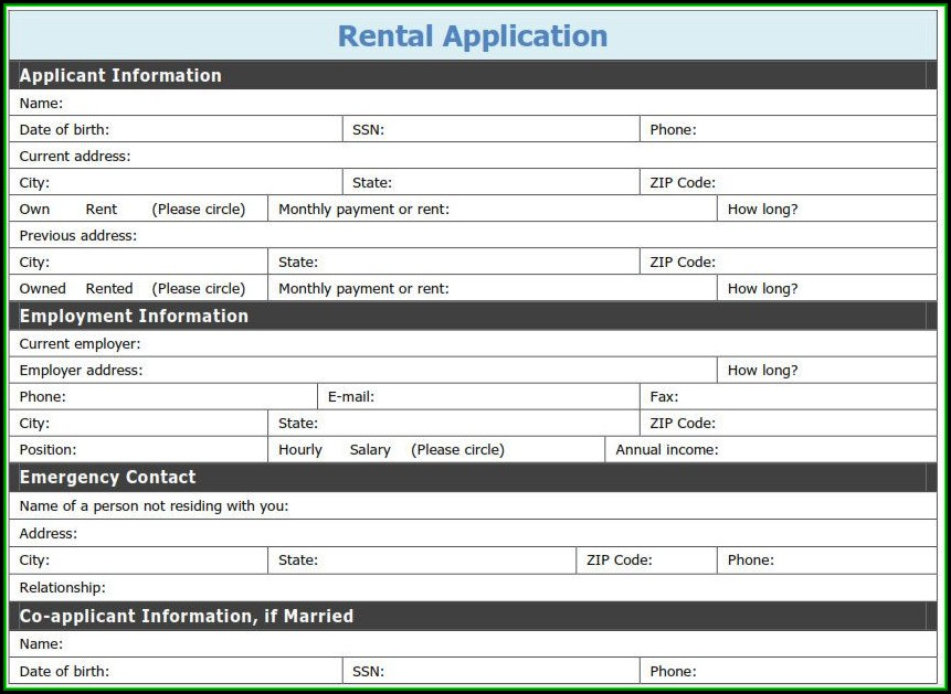 Free Printable Rental Application Template