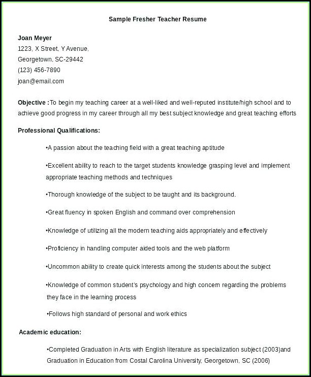 Free Resume Samples For Freshers
