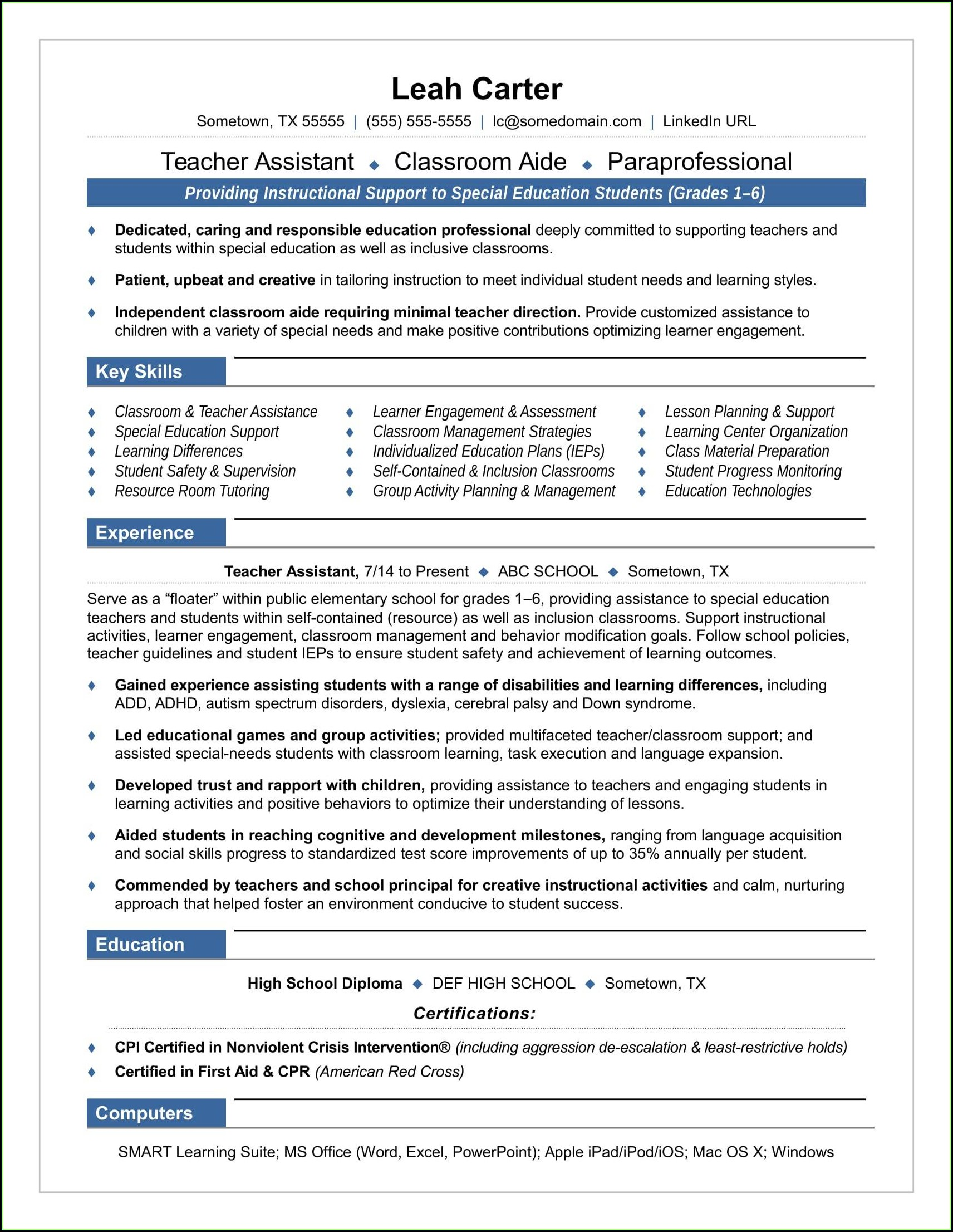 Free Resume Templates For Teacher Assistants