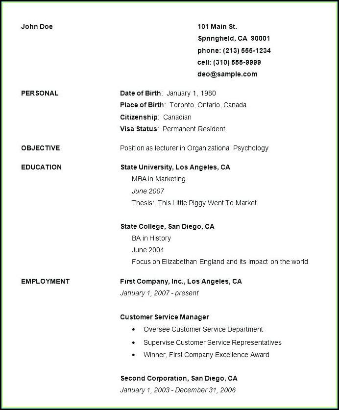 Free Samples Of Basic Resumes