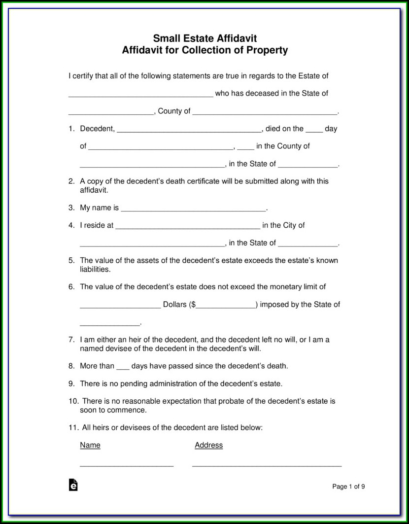 Free Small Estate Affidavit Form Mn