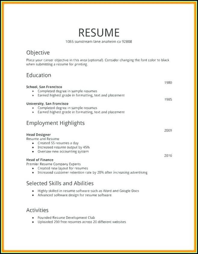Free To Print Resume Templates