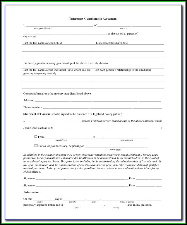 Grandparents Temporary Custody Form