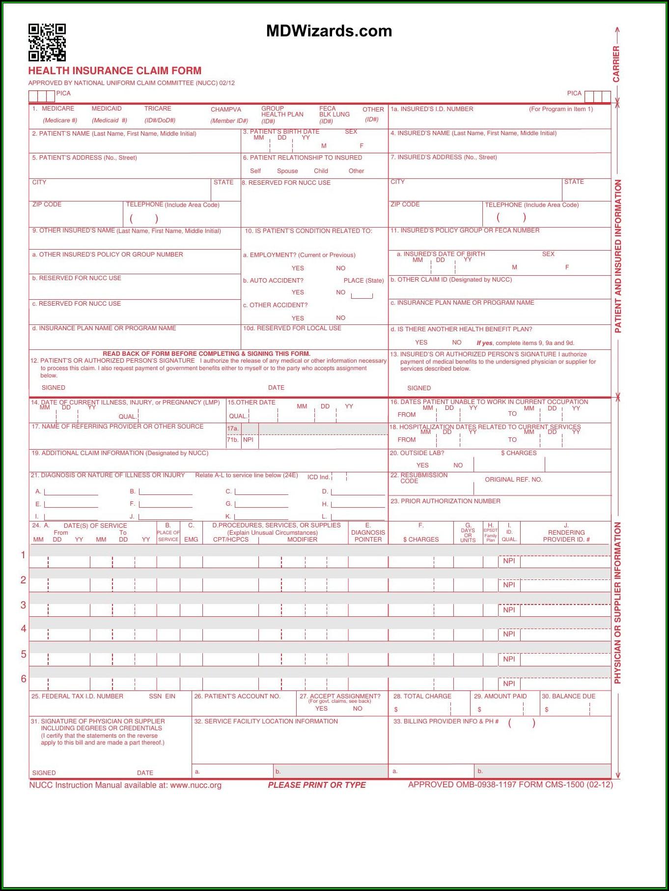 Hcfa 1500 Form Pdf Free