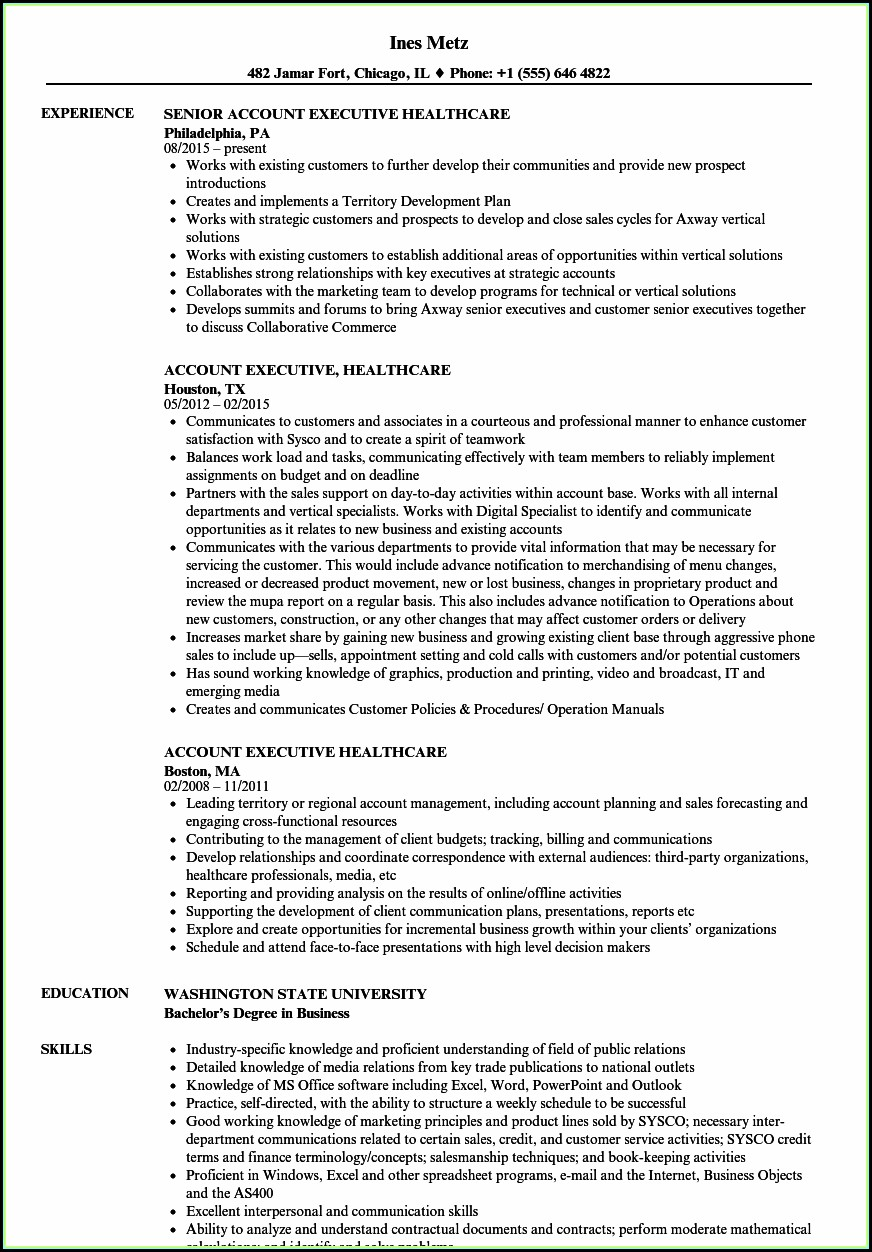Healthcare Executive Resume Samples