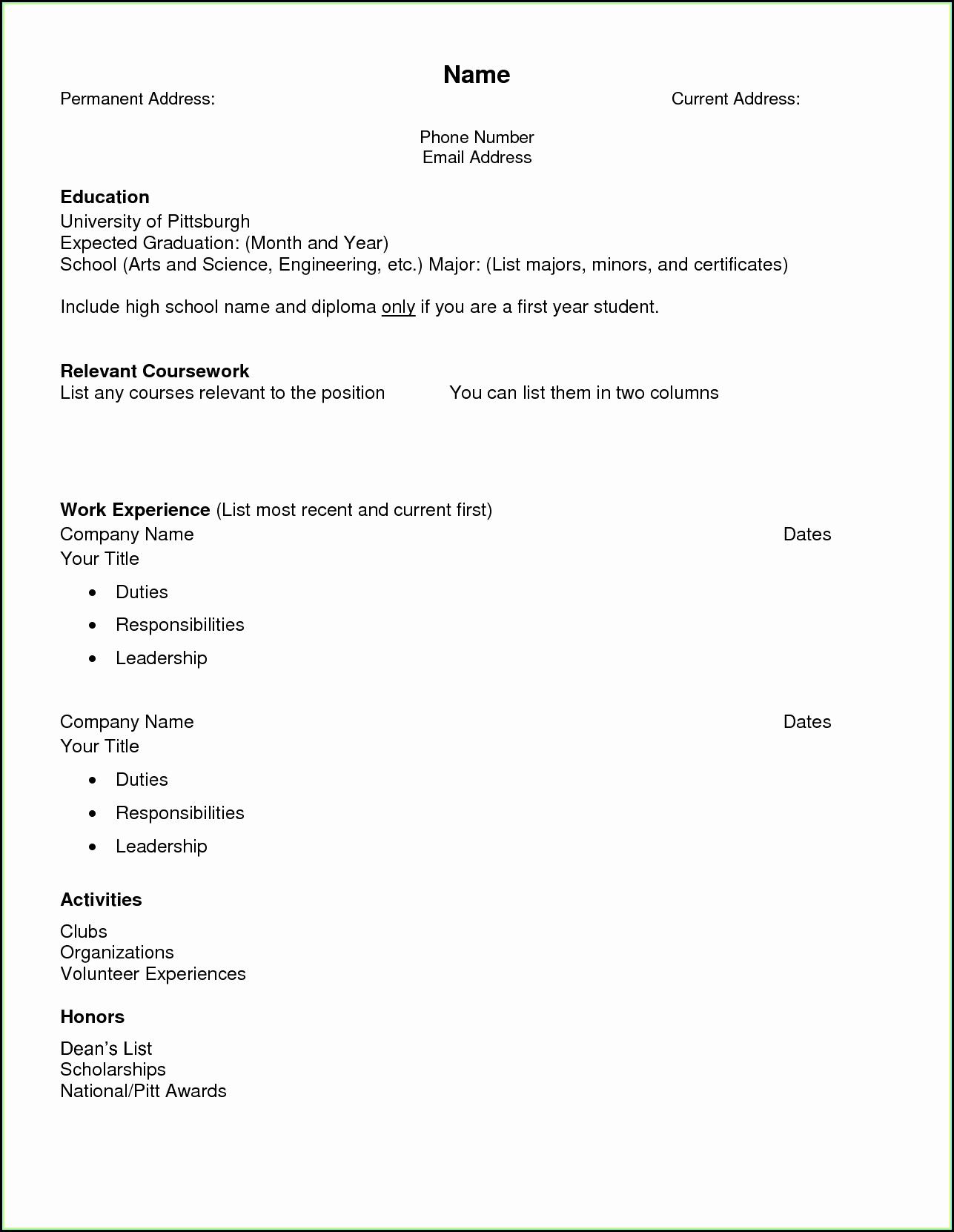 High School Resume Template Printable