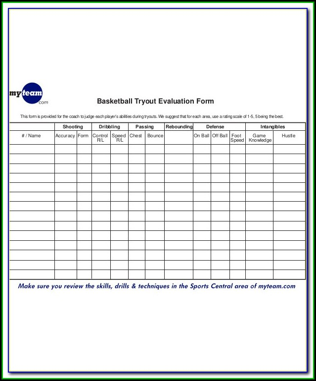 High School Soccer Tryout Evaluation Form