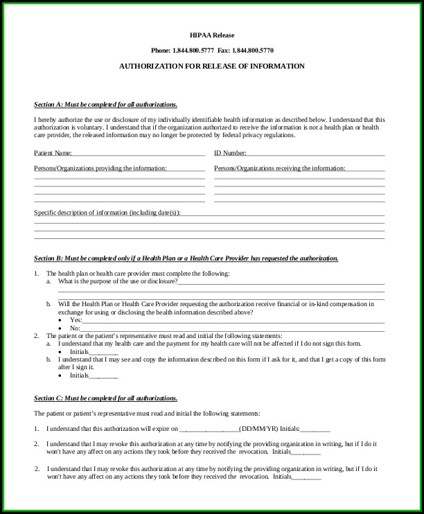 Hipaa Sample Authorization Form