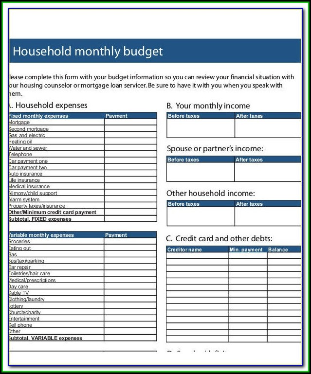 Household Budget Forms Pdf