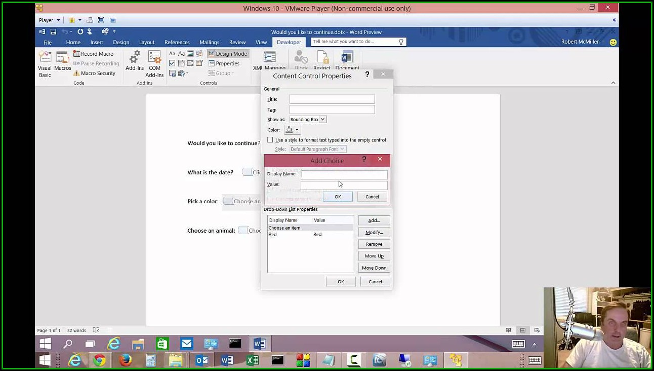 How To Create Fillable Forms In Word 2016