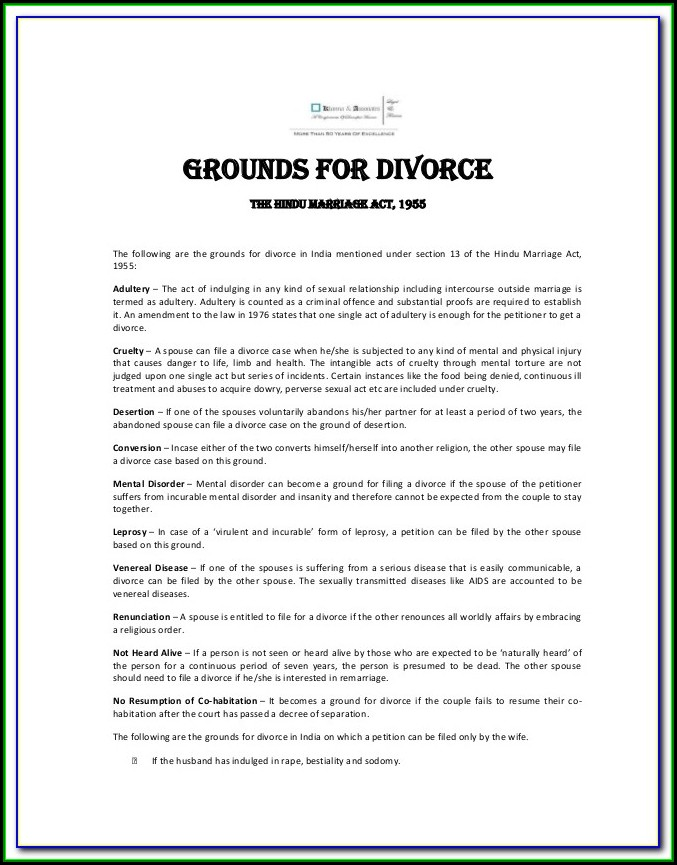 Indian Divorce Petition Format