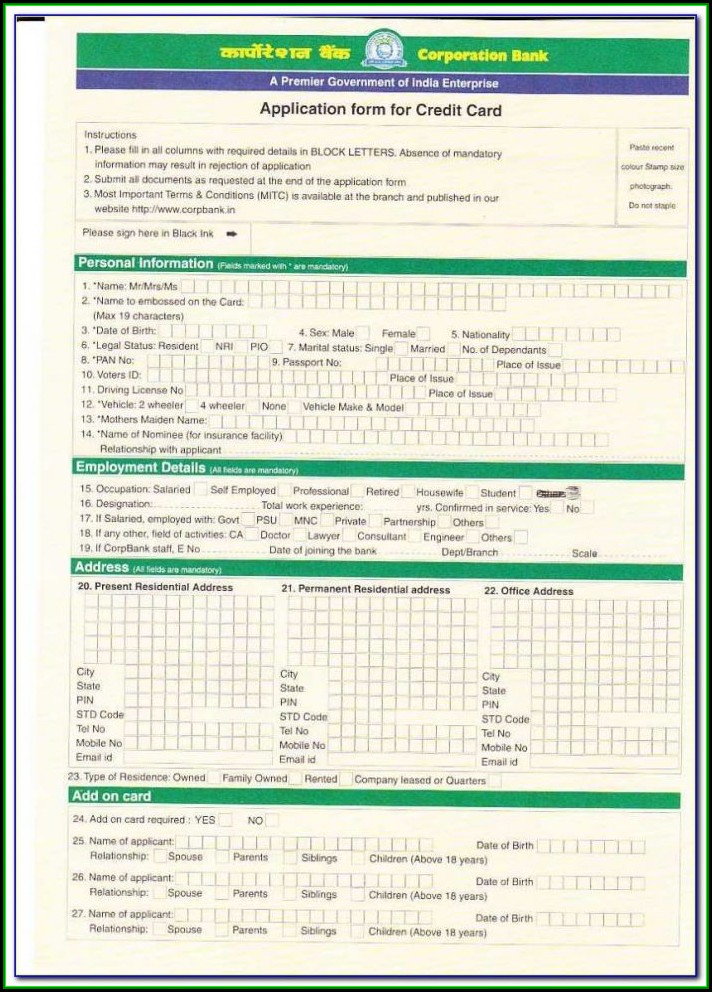 Iob Credit Card Application Form Pdf