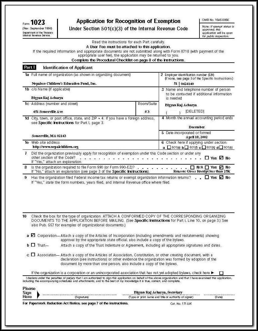 Irs 501c3 Form 1023