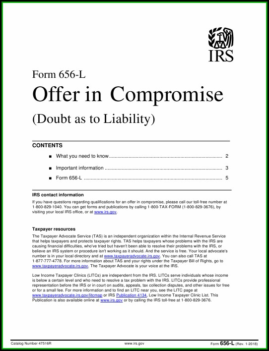 Irs Offer In Compromise Form 656 L