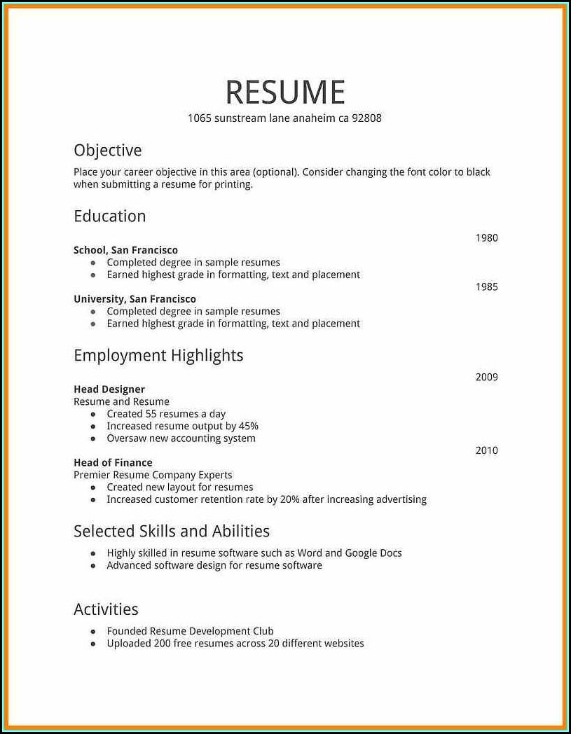 Job Resume Samples