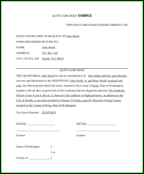 Kern County California Quit Claim Deed Form