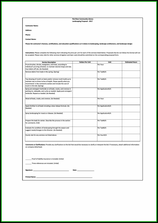 Lawn Care Estimate Form Pdf
