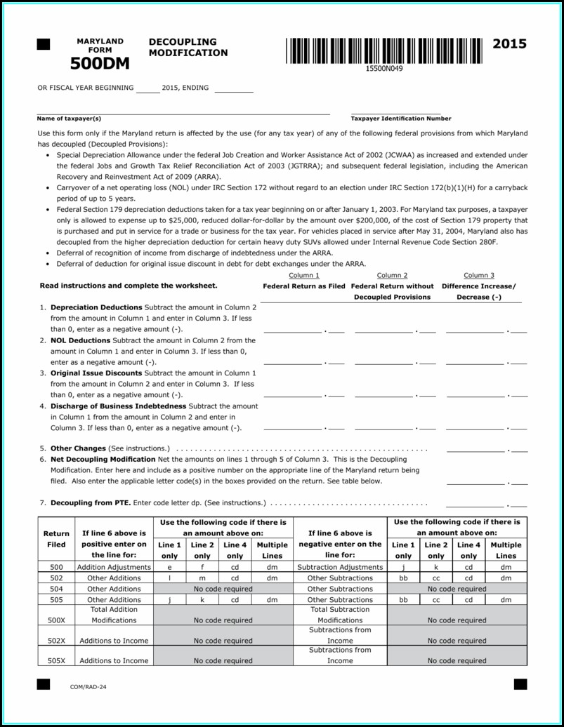 Md Tax Form 502x 2014