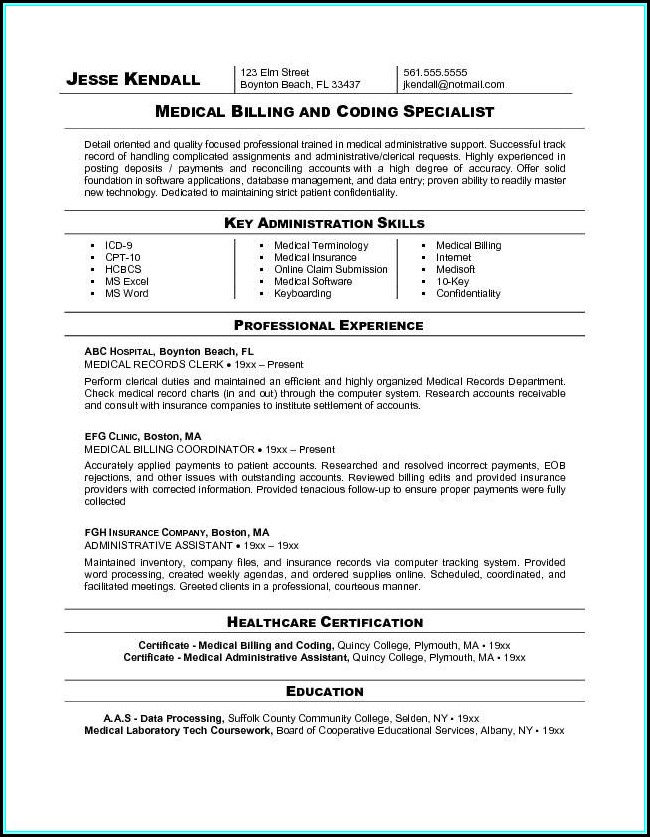 Medical Billing And Coding Job Resume