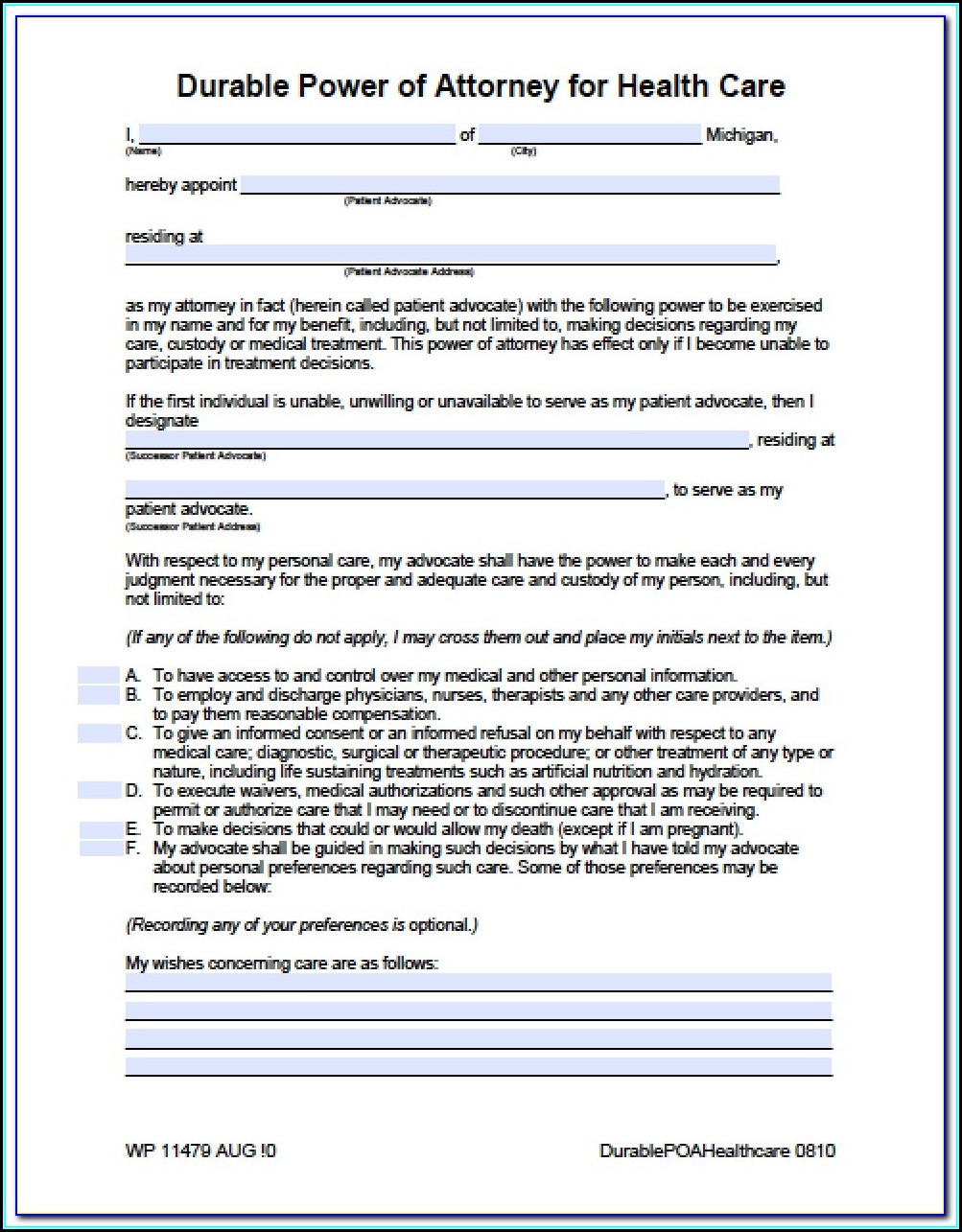 Medical Durable Power Of Attorney Form Michigan