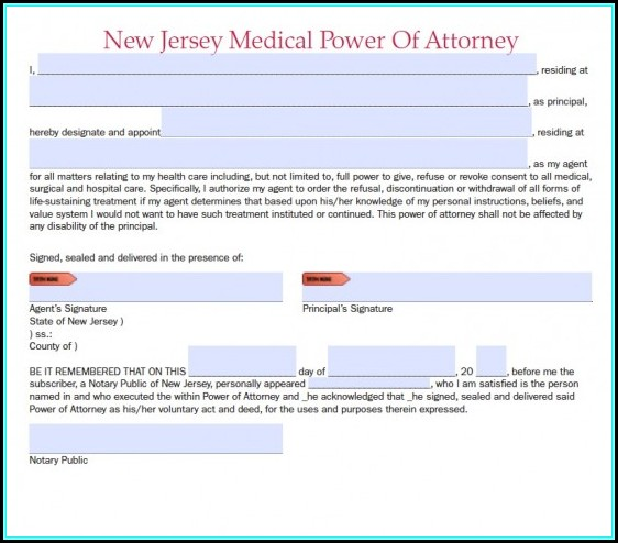 Medical Durable Power Of Attorney Form New Jersey
