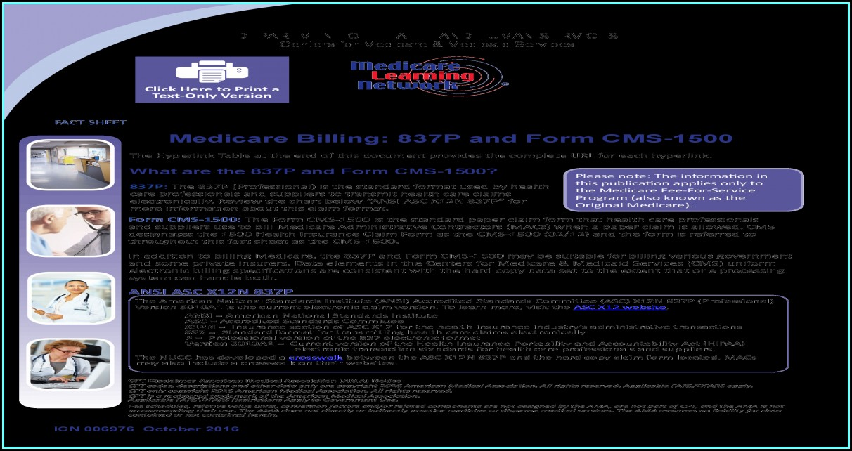 Medicare Billing 837p And Form Cms 1500