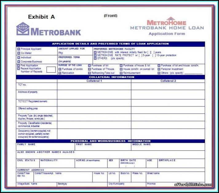 Metrobank Credit Card Application Form Classic