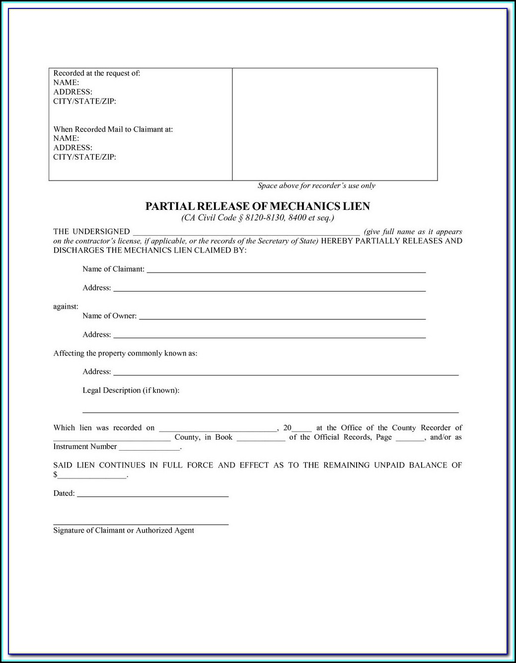 Ny State Mechanic's Lien Form