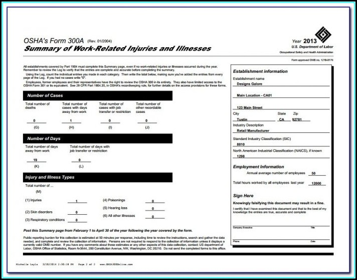 Osha 300a Form Pdf Fillable