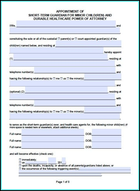 Power Of Attorney Guardianship Form California