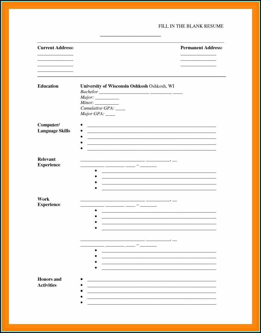 Printable Cv Template Free