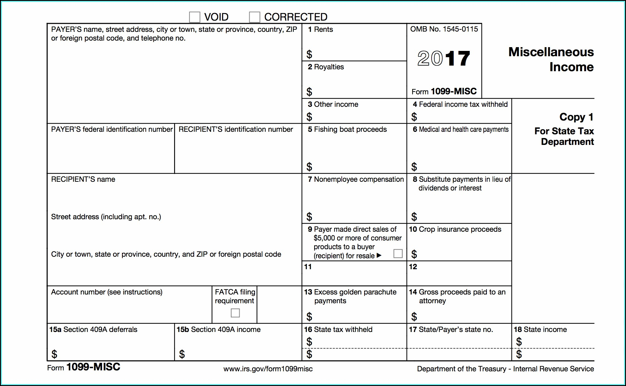 Printable Irs Form 1099 Misc 2017