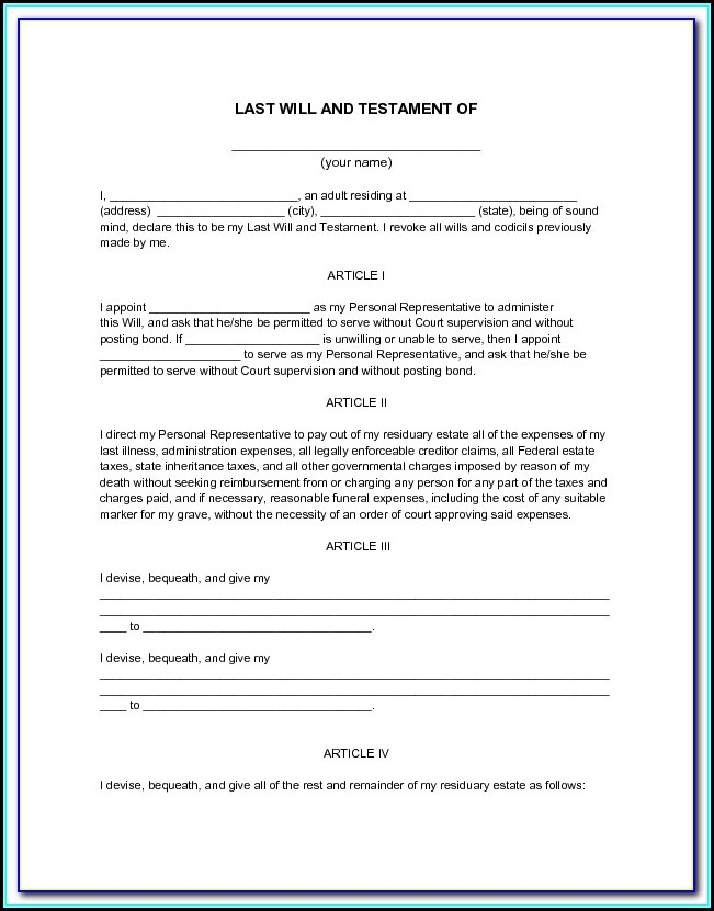 Printable Last Will And Testament Forms Alberta