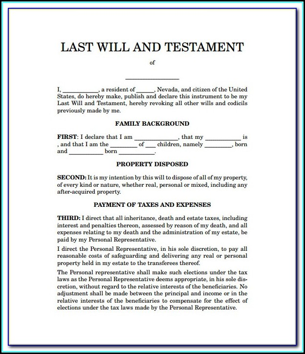 Printable Last Will And Testament Forms Tennessee