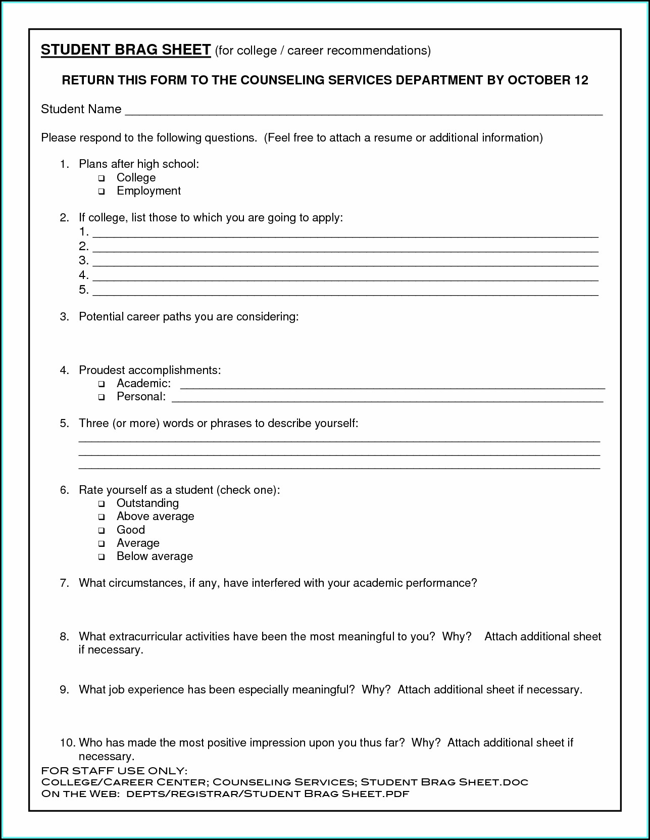 Printable Resume Templates For Students
