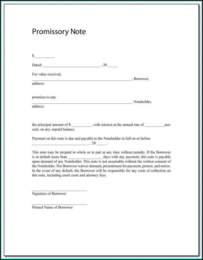 Promissory Note Sample For Payment