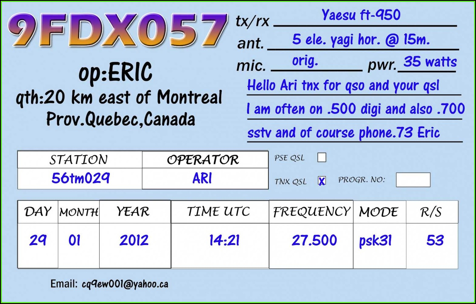 Qsl Card Template Download